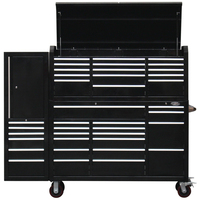 "MAXIM 80"" Workstation 38 Drawer Combo Black Top Chest, Roll Cabinet & Locker 60 inch"