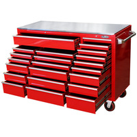 MAXIM 22 Drawer Red Roll Cabinet with Stainless Top 60 inch