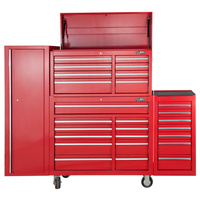 MAXIM 28 Drawer Combo Red Tool Box - Top Chest, Roll Cabinet, Locker, Side Cabinet 76 inch Mechanic Toolbox