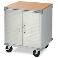 SEVILLE CLASSICS 2 Door Timber Top Mobile Office Roll Cabinet UHD20202E