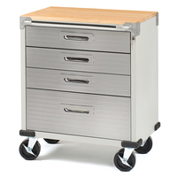 SEVILLE CLASSICS Ultra HD 4 Drawer Timber Top Mobile Roll Cabinet UHD20204E