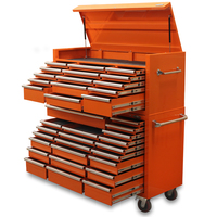 "NEW MAXIM Orange 60"" Toolbox 37 Drawer Tool Box - Top Chest & Roll Cabinet Mechanics Tool Box - Slide Lock on Drawers"