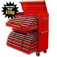"MAXIM Red 60"" Toolbox 37 Drawer - Top Chest & Roll Cabinet Mechanics Tool Box - Slide Lock on Drawers (Available October 20, 2020)"