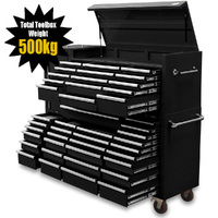"NEW MAXIM Black 80"" Toolbox 43 Drawer Tool Box - Top Chest & Roll Cabinet Mechanics Tool Box - Slide Lock on Drawers"