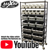 Bin Rack System Commercial Quality Maxim HD with 8 Shelves