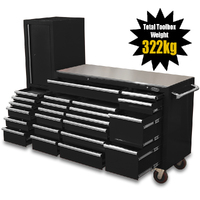 "NEW MAXIM Black 80"" Workstation 23 Drawer Toolbox Stainless Steel Top - Latch Lock Drawers"