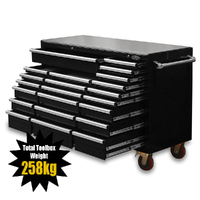 "NEW MAXIM Black 60"" Roll Cabinet 22 Drawers Toolbox with Stainless Top - Latch Lock on Drawers"