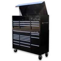 "MAXIM Black 60"" Toolbox 26 Drawer Top Hutch Chest Roll Cabinet Workshop Tool Box - Latch Lock on Drawers"