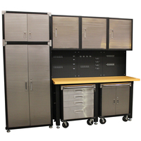 MAXIM 10 Piece Garage Storage System+ Mounting Kit - Timber Top Workbench, Upright Cabinet & Extensions