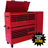 "MAXIM 54"" Red Complete Toolbox Combination with 23 Drawers - Professional Mechanic Tool Box Storage for Workshops"