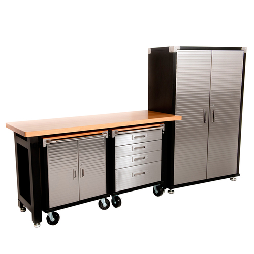 MAXIM HD 4 Piece Supersize Garage Storage System with Timber Workbench and Steel Upright Cabinet