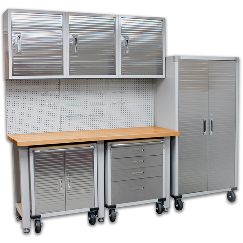 SEVILLE CLASSICS  8 Piece Garage Storage System Wall Mounted - Timber Top Workbench, Cabinet & Rolling Cabinets