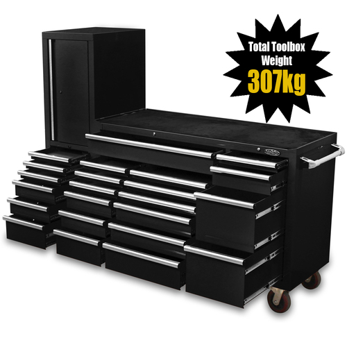 "MAXIM Black 80"" Workstation 23 Drawer Toolbox - Roll Cabinet & Locker Mechanics Tool Box Secure Lock (Available May 10, 2021)"