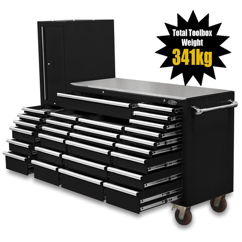 "NEW MAXIM Black 80"" Workstation 28 Drawer Toolbox Stainless Steel Top - Latch Lock Drawers"