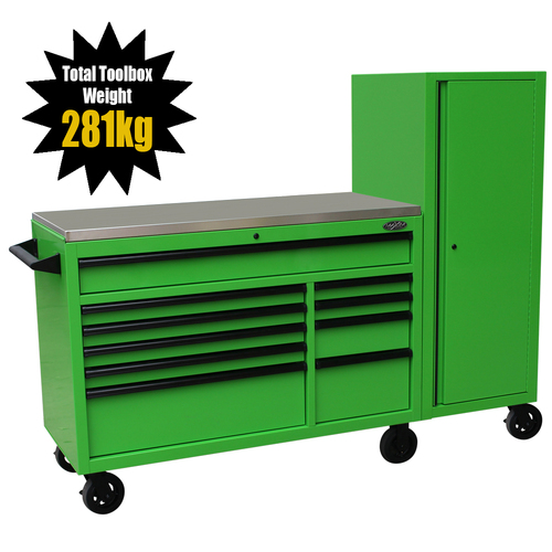 "MAXIM 76"" Green Workstation Toolbox with 15 Drawers & Stainless Top - Professional Mechanic Tool Box Storage for Workshops (Available October 6, 2020)"
