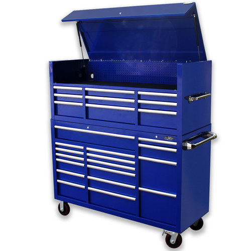 "MAXIM Blue 60"" Toolbox 26 Drawer Top Hutch Chest Roll Cabinet Workshop Tool Box - Latch Lock on Drawers (Available January 11, 2021)"