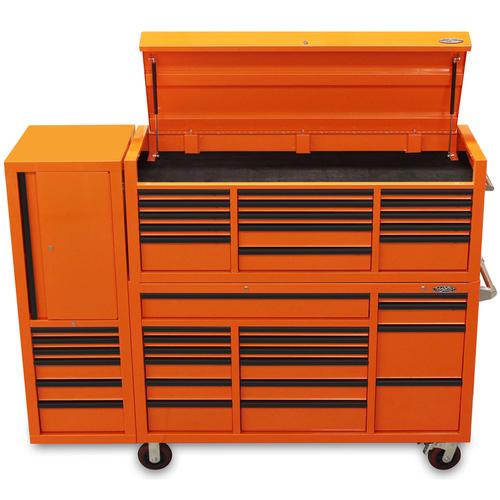 "LIMITED EDITION MAXIM Orange 80"" Toolbox 38 Drawer Toolbox - Top Chest & Roll Cabinet Mechanics Tool Box - Latch Lock"